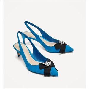 Zara Blue Leather Kitten Heel Sz 41/10